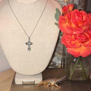 Vintage Cross Necklace w/ Rhinestones - 16' inch